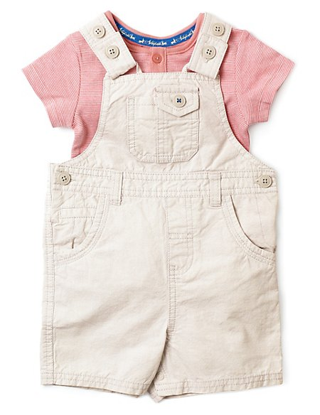 2 Piece Bibshort Dungaree with Linen Outfit