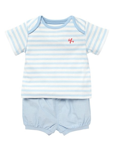 2 Piece Pure Cotton Striped T-Shirt & Shorts Outfit