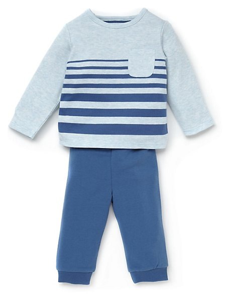 2 Piece Cotton Rich Marl Striped T-Shirt & Joggers Outfit