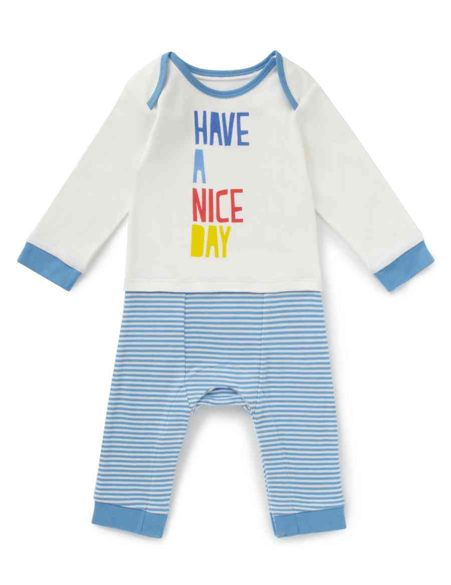eb11e344d Pure Cotton 'Have A Nice Day' Slogan Onesie | Indigo Collection | M&S