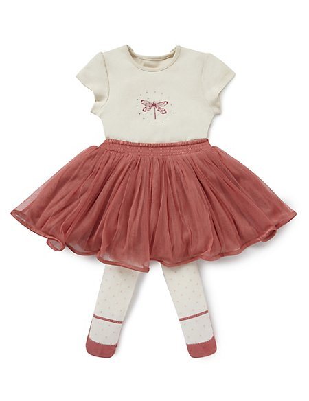 3 Piece Bodysuit Tutu Skirt & Tights Outfit