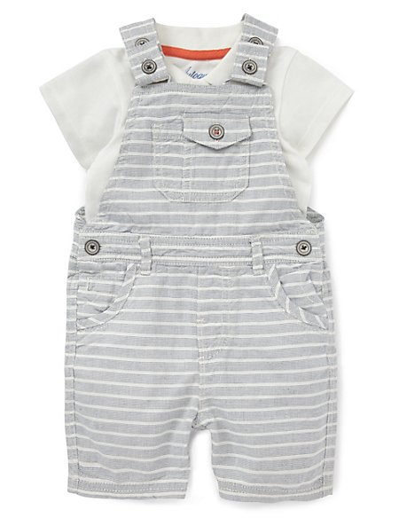 2 Piece Pure Cotton Striped Bibshort & Bodysuit