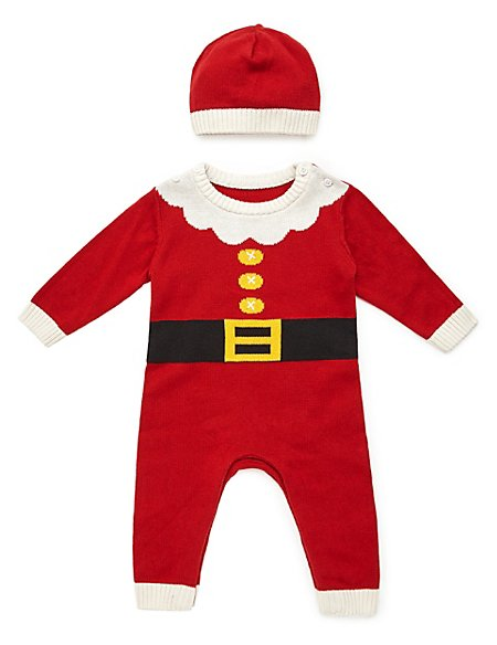 Pure Cotton Santa Knitted All-in-One with Hat
