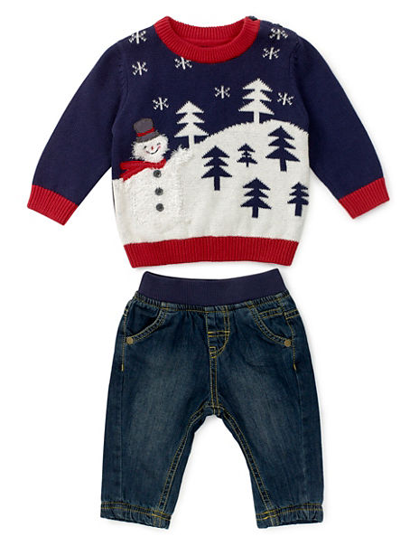 2 Piece Pure Cotton Christmas Top & Jeans Outfit