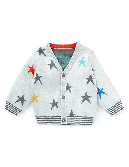 Pure Cotton Star Print Cardigan