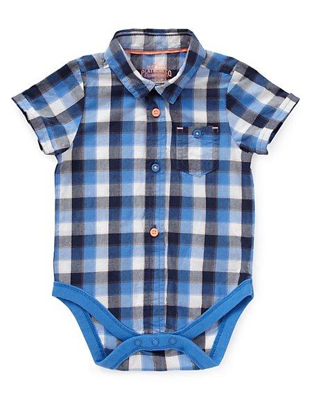 Pure Cotton Checked Shirt Bodysuit
