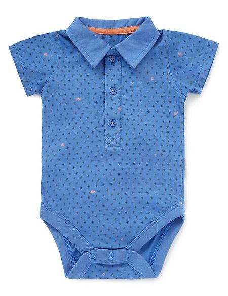 Pure Cotton Star Print Polo Bodysuit