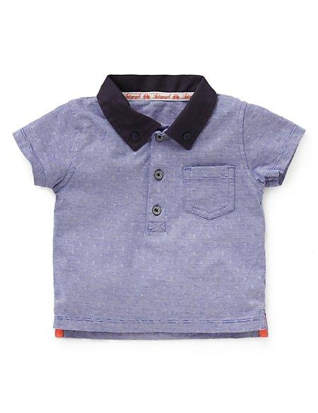 Pure Cotton Jacquard Polo Shirt