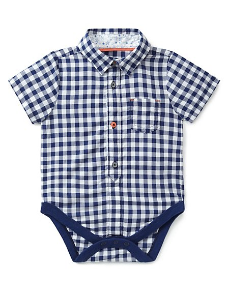 Pure Cotton Gingham Checked Shirt Bodysuit
