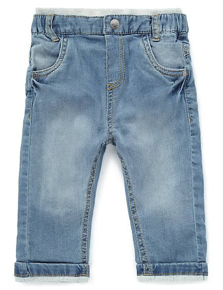 Cotton Rich Ribbed Waist Lined Denim Jeans