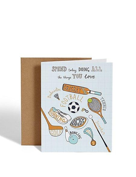 Sports Equipment Birthday Card