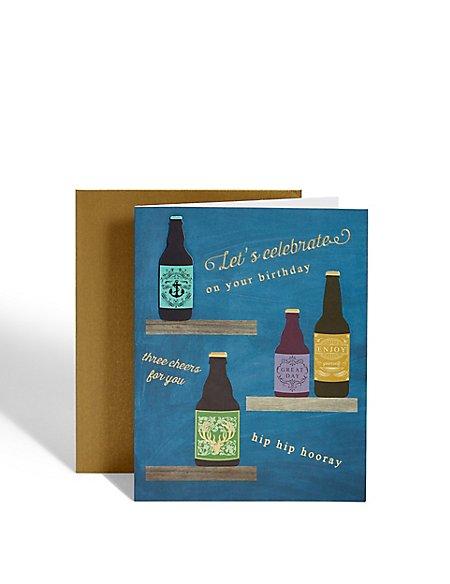 Beer Bottles Birthday Card