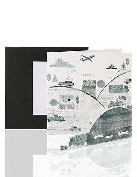 Black & White Town Scene Birthday Card