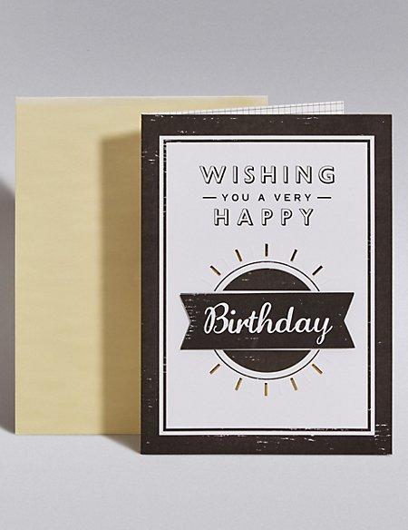 Black & White Happy Birthday Card