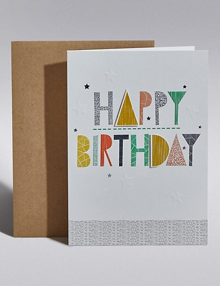 Text & Stars Birthday Card