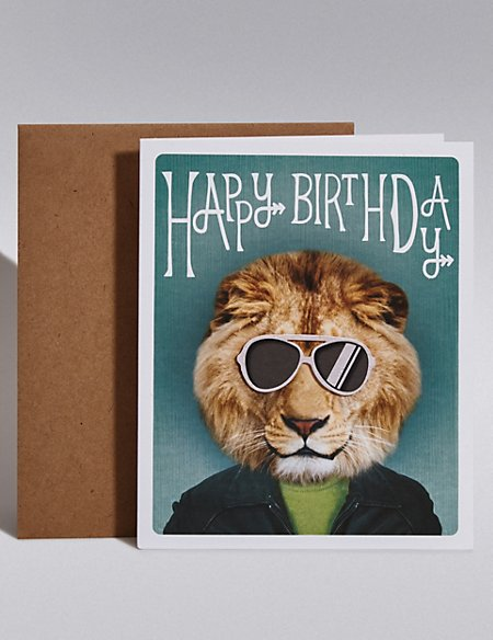 Lion Glasses Birthday Card