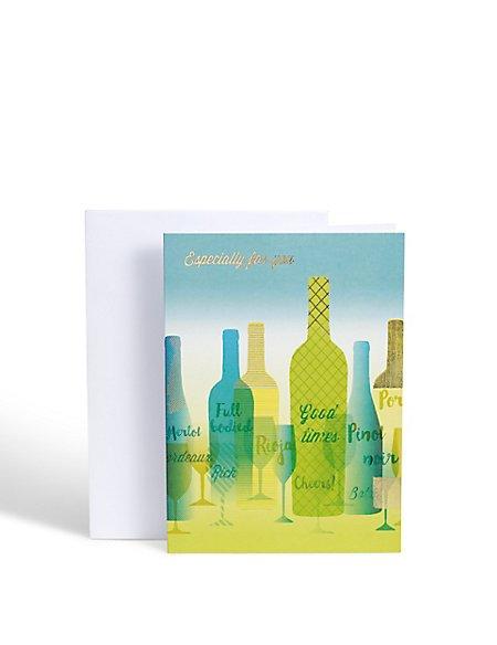 Wine Bottles Birthday Card