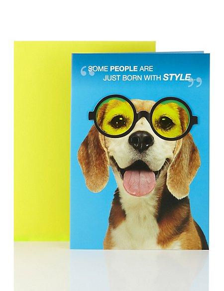 Beagle in Glasses Birthday Card