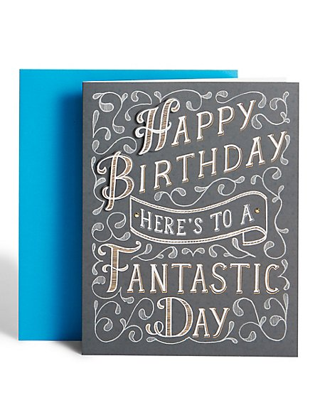 Black & White Text Birthday Card