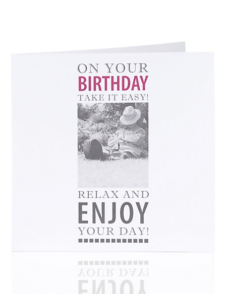 Photographic Relaxing in Garden Birthday Card
