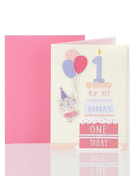 Hip Hip Hooray Age 1 Birthday Greetings Card