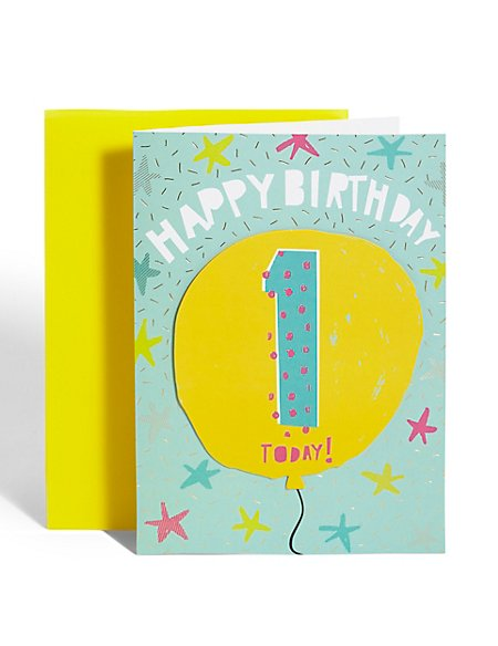 Age 1 Balloon Birthday Card