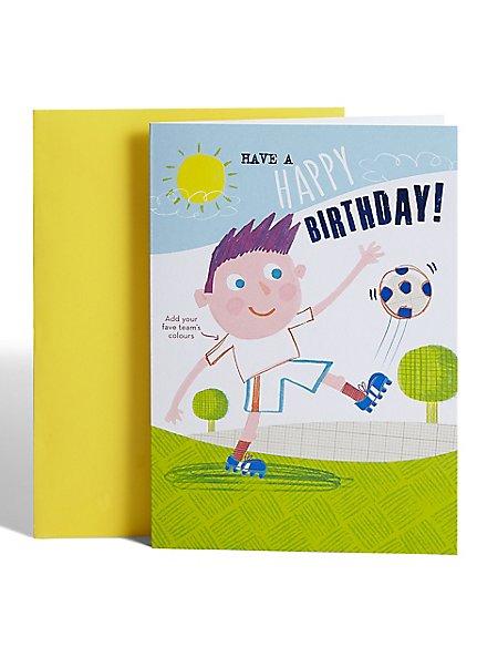 Colour-In Football Birthday Card