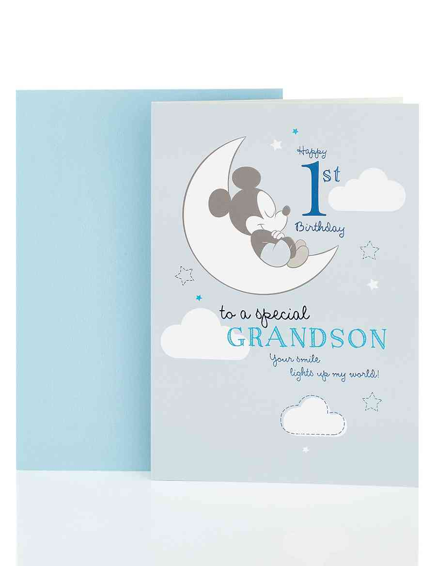 Mickey Mouse 1st Grandson Birthday Card