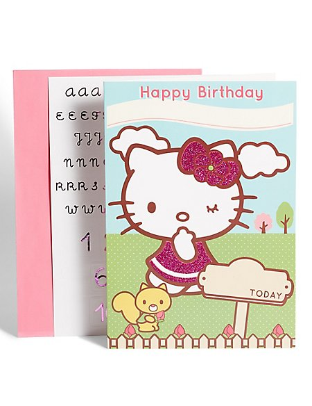 Hello Kitty Personalised Name & Age Birthday Card