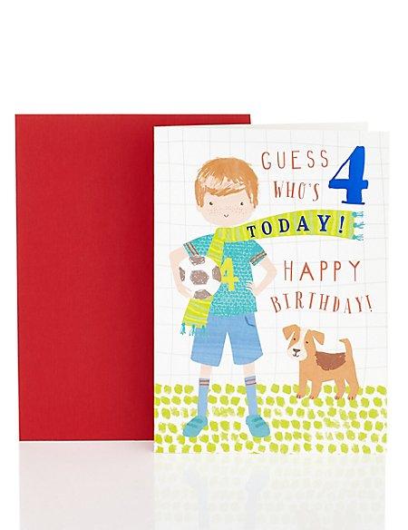 Football Card 4th Birthday Card Ms