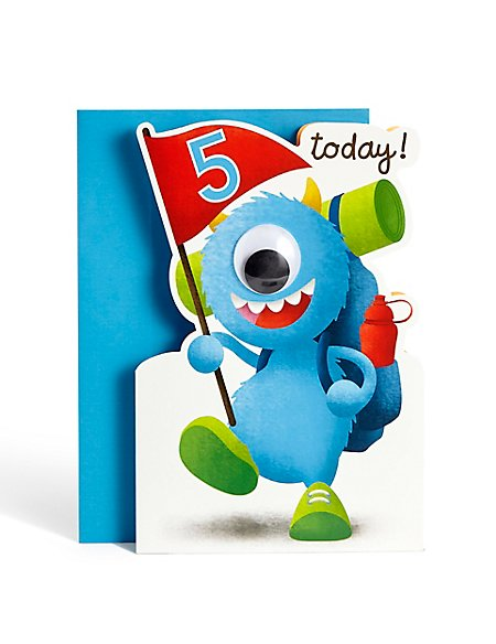 Product Images Skip Carousel Age 5 Boy Monster Birthday Card