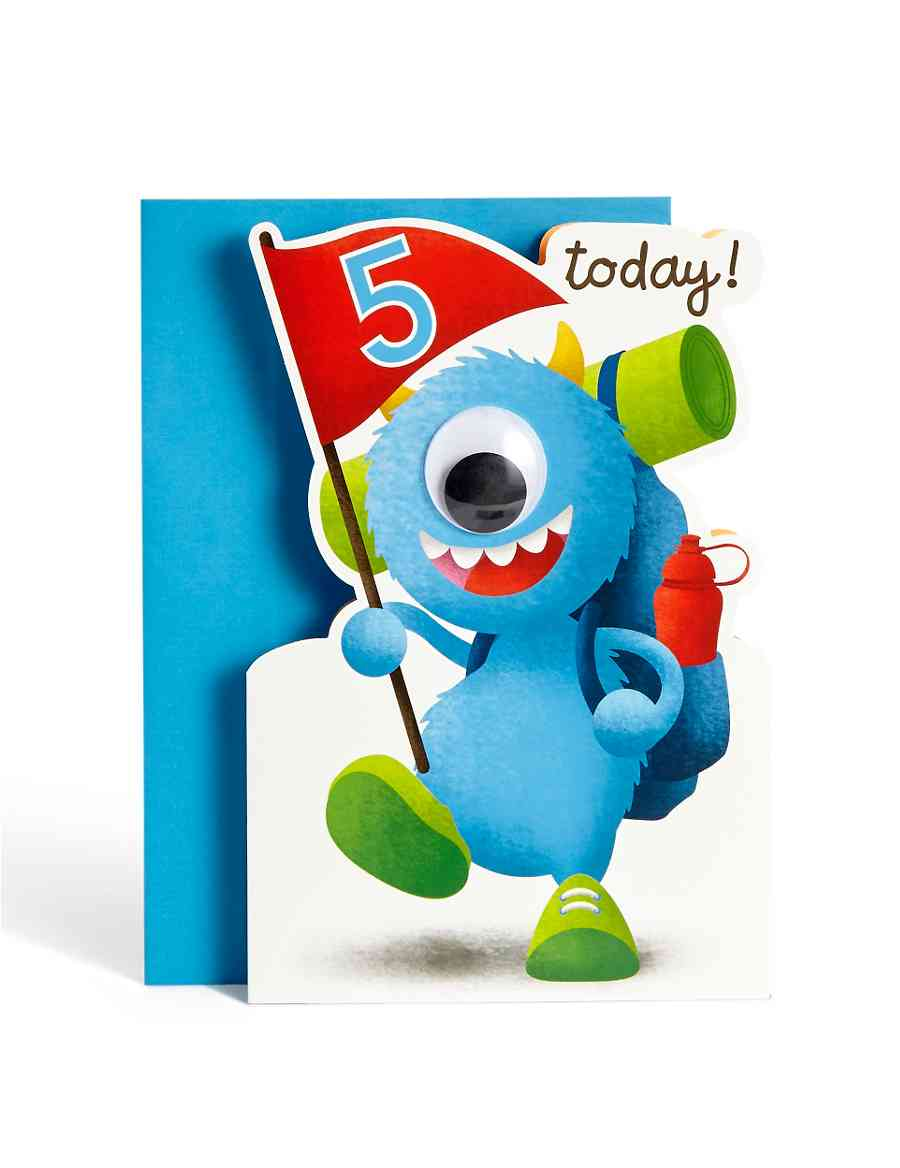 Age 5 Boy Monster Birthday Card