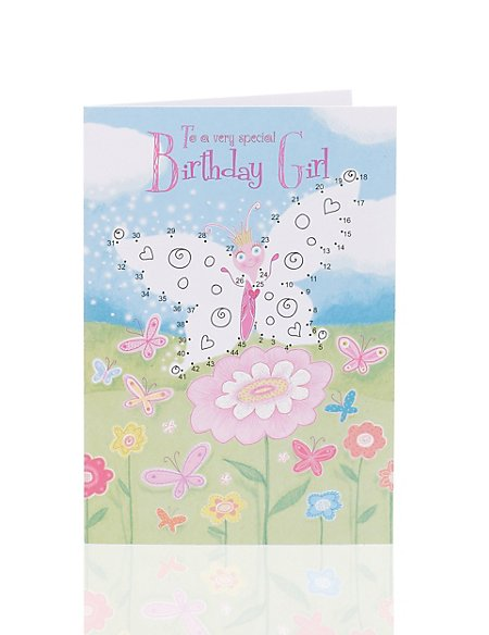 Butterfly Dot to Dot Birthday Card for Kids