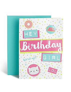 Birthday Girl Text Badge Card