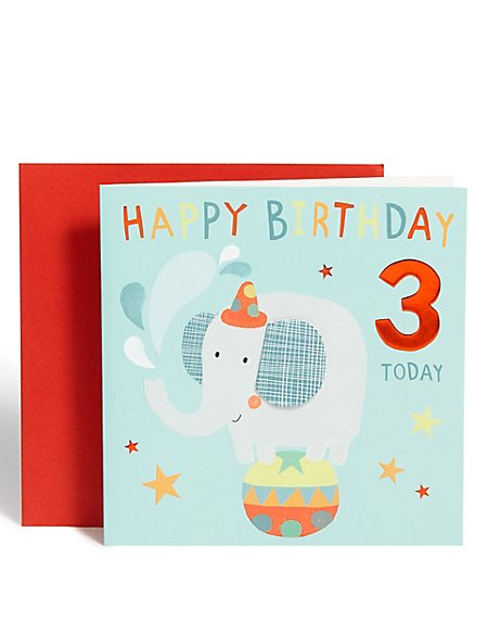 Elephant 3rd Birthday Card