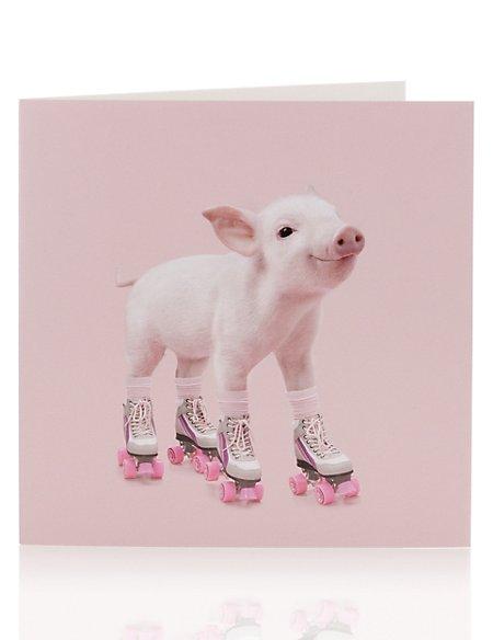 Piglet on Roller-Skates Blank Greetings Card