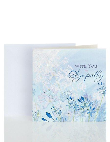 Blue Floral Sympathy Greetings Card
