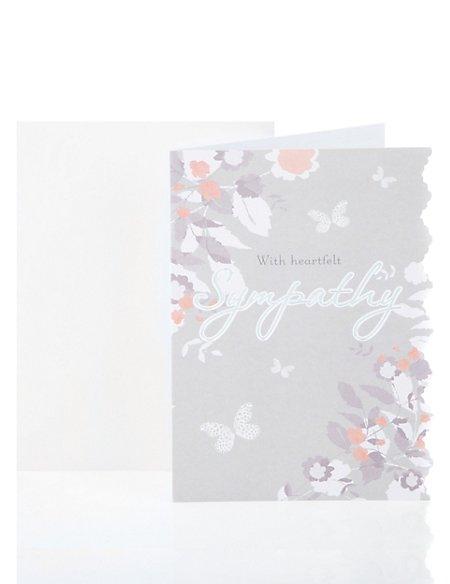 Die Cut Floral Sympathy Greetings Card