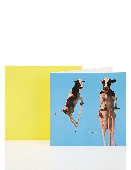 Pogo Cows Blank Greetings Card
