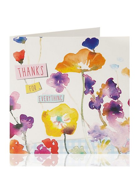 Thank You Watercolour Flowers Greetings Card