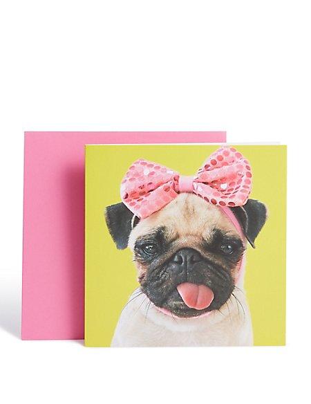Pink Bow Pug Card