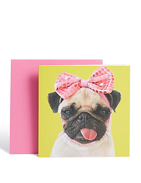 Pink Bow Pug Card