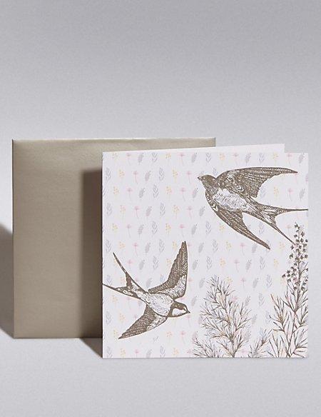 Pastel Swallows Blank Card