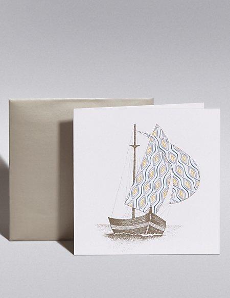 Pastel Yacht Blank Card