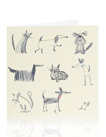 Sketchy Dog & Cat Blank Card