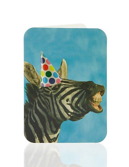 Party Zebra Blank Greetings Card