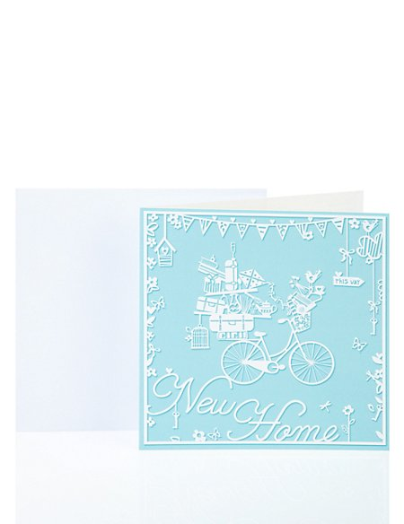 Blue Bicycle New Home Greetings Card