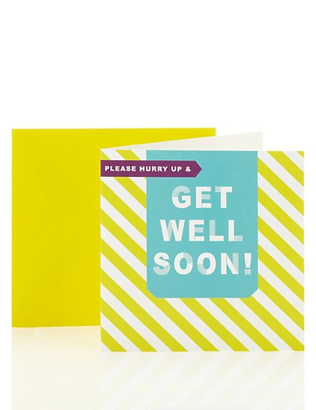 Striped Get Well Soon Card