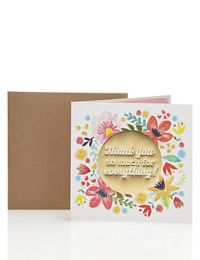 Glittery Floral Contemporary Thank You Card