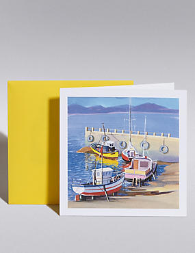 Fishing Boats Blank Card